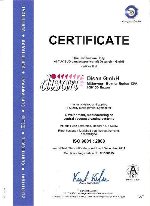 Disan-Zentralstaubsauger-Zertifizierung-ISO